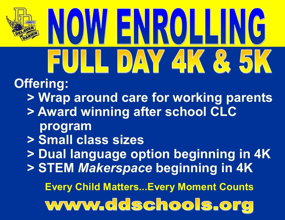 Enroll Today for 4K & Kindergarten