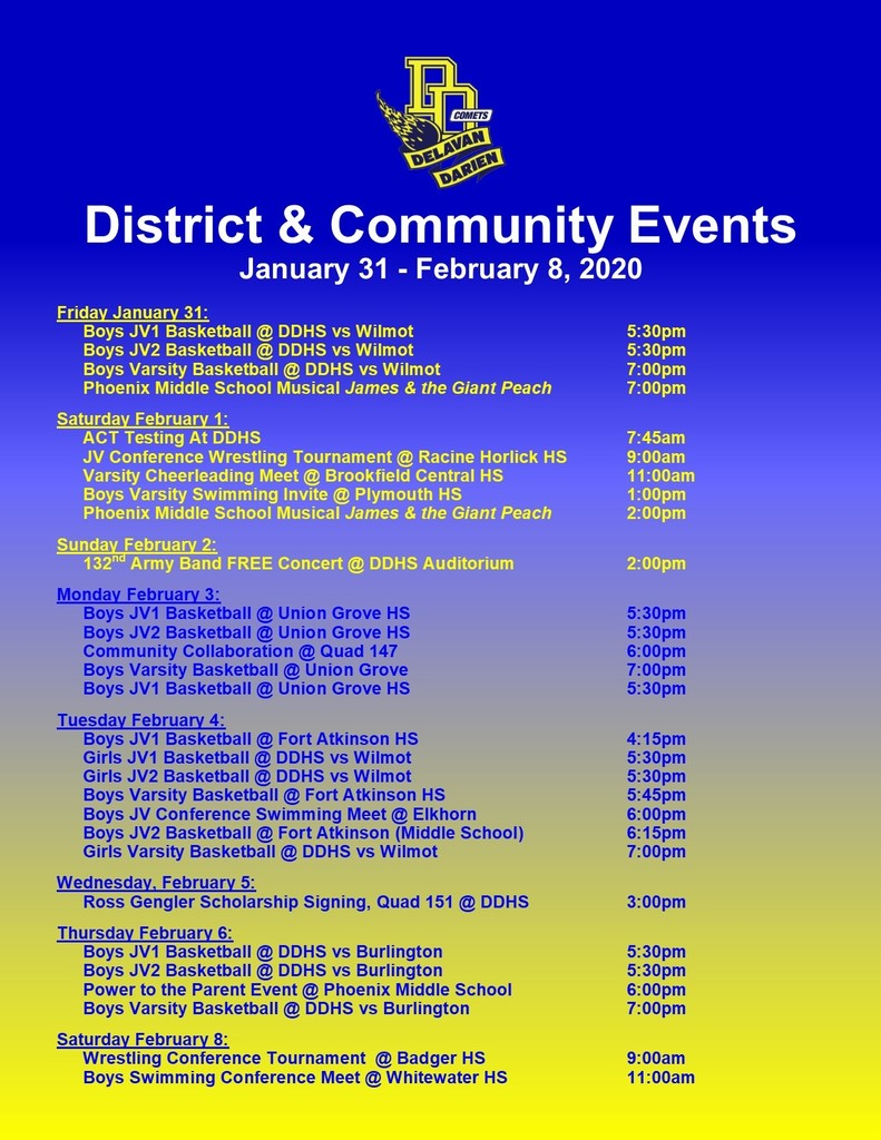 Upcoming Events Jan. 31-Feb. 8