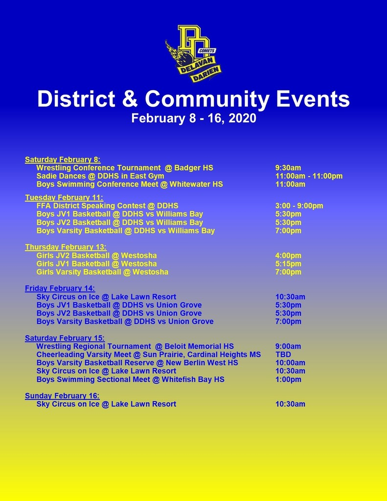 Upcoming Events for Feb. 8-16