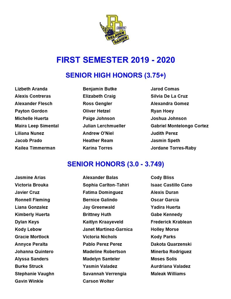 Senior Honor Roll
