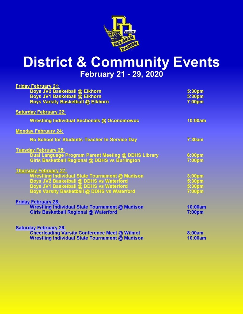 Upcoming Events-Feb. 21-29