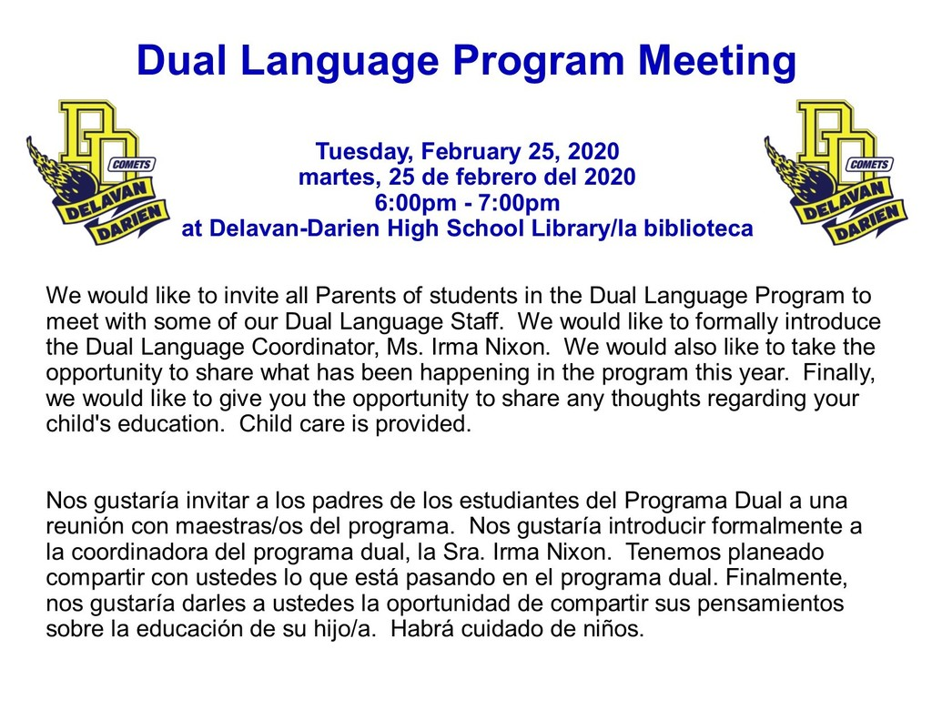 Dual Language Program Meeting