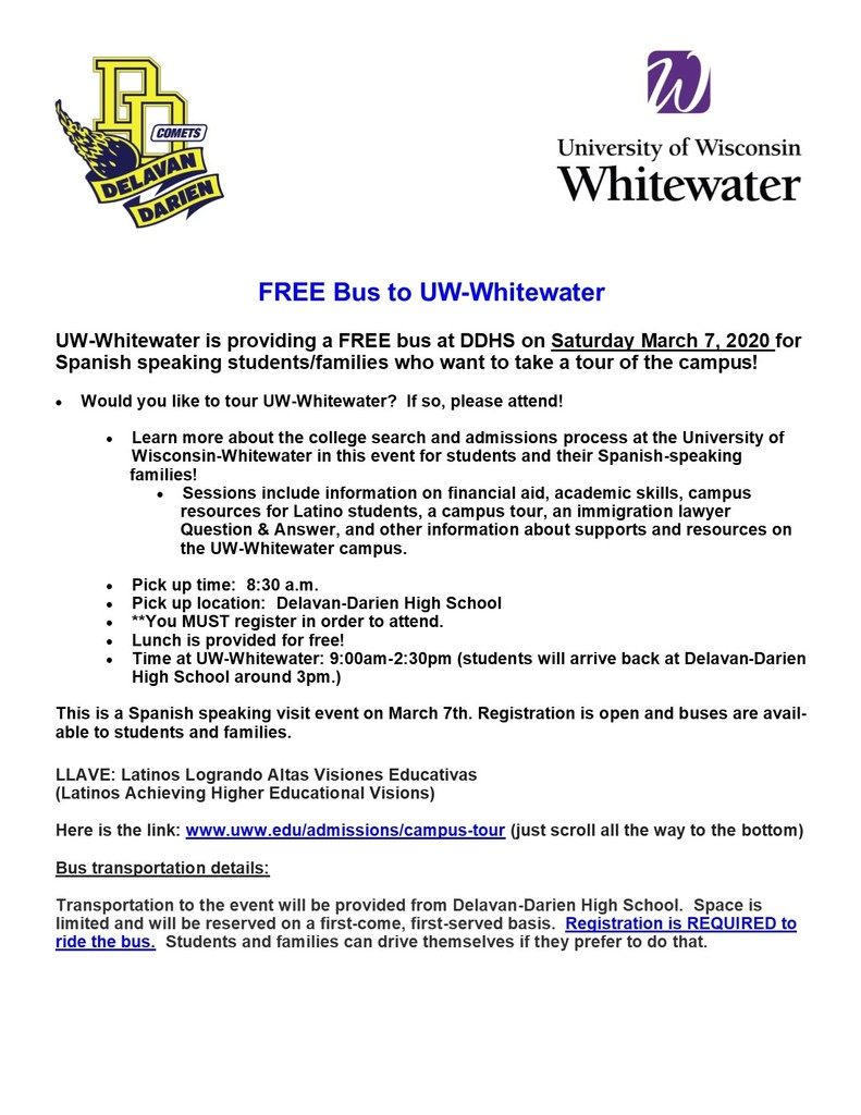 FREE Bus To UW Whitewater